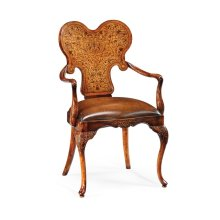 Seaweed Marquetry Armchair with Antique Brown Leather Seat