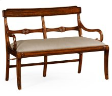 Regency Walnut Bench with Scrolling Arms