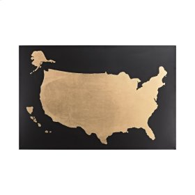 Metallic World Map on Black