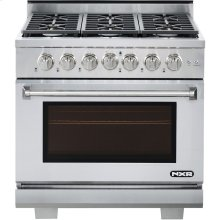 Professional Style Gas Range with 6 Burners and 5.5 Cu. Ft. Convection Oven in Stainless Steel