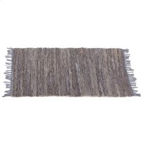 Grey Leather Chindi 2'x3' Rug (Each One Will Vary). Product Image