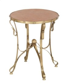 Bengal Manor Solid Iron Accent Table in Antique Brass Finish w/ Leather Top