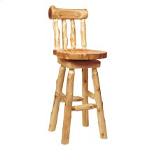 """Counter Stool with back - 24"""" high - Natural Cedar - Wood Seat"""