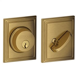 Single Cylinder Deadbolt with Addison trim - Antique Brass Product Image