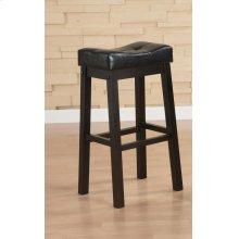 Transitional Black Upholstered Bar Stool