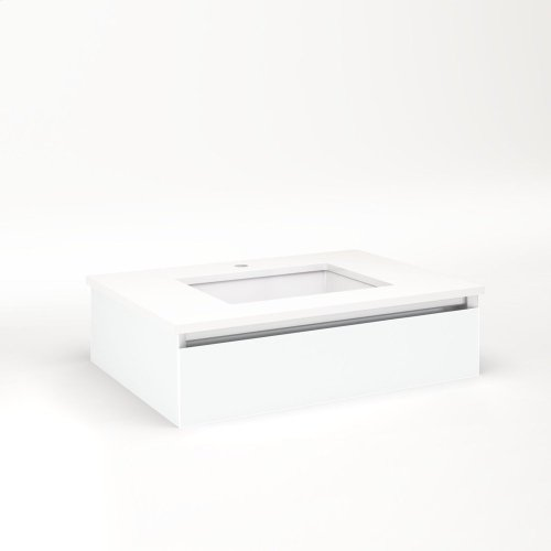 "Cartesian 30-1/8"" X 7-1/2"" X 21-3/4"" Slim Drawer Vanity In Matte White With Slow-close Tip Out Drawer and No Night Light"