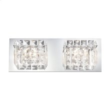 Crown 2-Light Vanity Sconce in Chrome with Clear Crystal