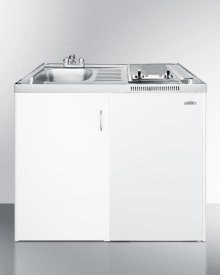 39 Inch Wide Combination Kitchen With Two Smoothtop Burners, Manual Defrost Refrigerator-freezer, Sink, and Storage Compartment