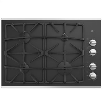 "GE 30"" Built-In Deep-Recessed on Glass Gas Cooktop Stainless Steel - JGP5530SLSS"
