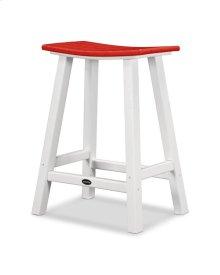 "White & Sunset Red Contempo 24"" Saddle Bar Stool"