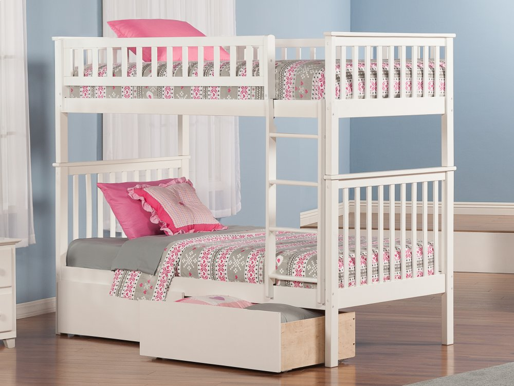 Woodland Bunk Bed Twin over Twin with Urban Bed Drawers in White