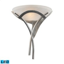 Aurora 1-Light Sconce in Tarnished Silver with White Faux-Alabaster Glass - Includes LED Bulb