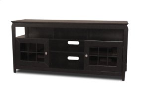"60"" Wide Credenza, Solid Wood and Veneer In A Black Finish, Accommodates Most 65"" and Smaller Flat Panels"