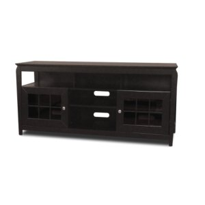 """60"""" Wide Credenza, Solid Wood and Veneer In A Black Finish, Accommodates Most 65"""" and Smaller Flat Panels"""