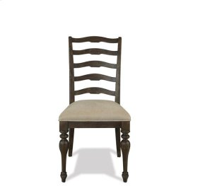 Cassidy Upholstered Ladderback Side Chair Aged Cask finish