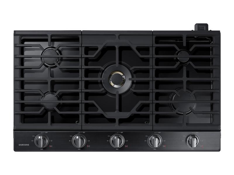 """Samsung36"""" Gas Cooktop With 22k Btu Dual Power Burner In Black Stainless Steel"""