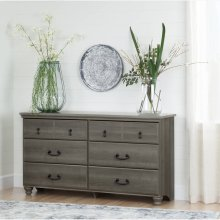 6-Drawer Double Dresser - Gray Maple