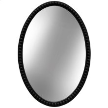 Black Oval Wooden Beaded Mirror  25in X 17in X 2in  Framed Wall Mirror