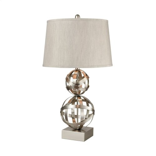 Strapped Orb Brushed Steel Table Lamp