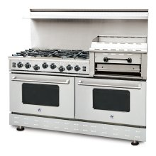 """60"""" BlueStar - Residential Nova Burner (RNB) - Heritage Classic Gas Range with 4.5 Cu. Ft. Convection Ovens and Raised Double Griddle"""