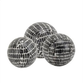 """S/3 Ceramic Orbs,5/4/3"""" Blackcobblestone"""