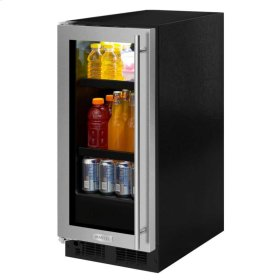 "Marvel 15"" Beverage Center - Black Frame Glass Door - Left Hinge, Stainless Designer Handle"