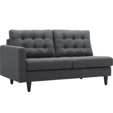 Empress Left-Facing Upholstered Fabric Loveseat in Gray