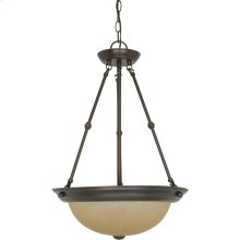 3-Lights Small Hanging Pendant Light Fixture in Mahogany Bronze Finish with Champagne Linen Glass