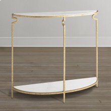Gilded Forged Iron Demilune Console Table