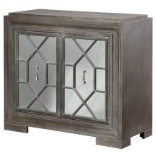 Hex Filigree  38in X 17in X 34in  Two Door Cabinetv with Plain Mirror Panel Doors Made of Mdf & W