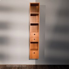 """Wall-mount cabinet with three drawers and two fixed shelves, polished chrome pulls included, 10""""W, 11 3/4""""D, 59""""H"""