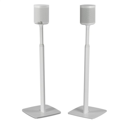 White- Pair of secure and adjustable floor stands for home cinema surrounds.