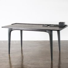Salk desk  charred oak black concrete