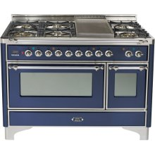 Midnight Blue with Chrome trim - Majestic 48-inch Range with Griddle