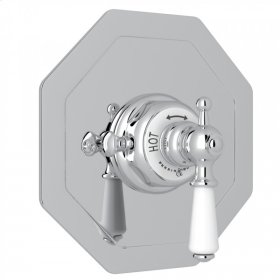 Polished Chrome Perrin & Rowe Edwardian Octagonal Concealed Thermostatic Trim Without Volume Control with Metal Lever