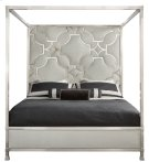 King-Sized Domaine Blanc Upholstered Metal Canopy Bed Product Image