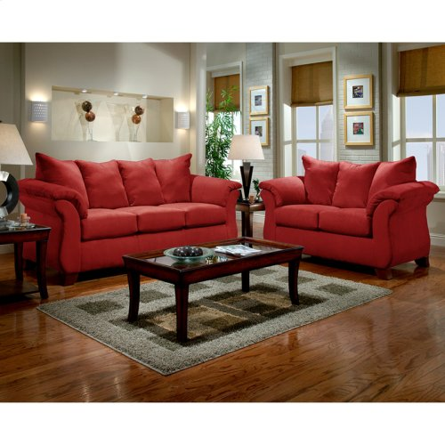 Exceptional Designs by Flash Living Room Set in Sensations Red Brick Microfiber