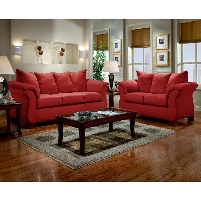 Exceptionnel Exceptional Designs By Flash Living Room Set In Sensations Red Brick  Microfiber
