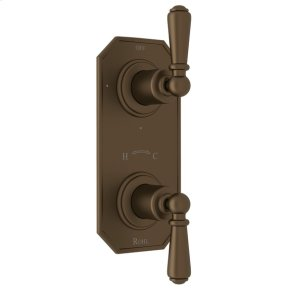 """English Bronze Perrin & Rowe Edwardian Trim For 1/2"""" Thermostatic/Diverter Control Rough Valve with Edwardian Metal Lever"""