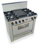 "36"" All Gas Range, Open Burners, Stainless Steel with Brass Product Image"