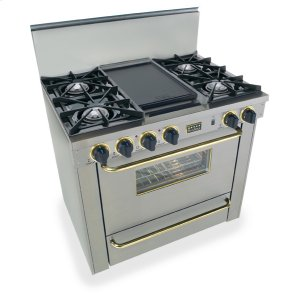 "Five Star36"" All Gas Range, Open Burners, Stainless Steel with Brass"