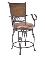 Big & Tall Copper Stamped Back Counter Stool with Arms Product Image