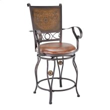 Big & Tall Copper Stamped Back Counter Stool with Arms