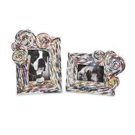 Anise Recycled Magazine Photo Frames - Set of 2