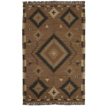 Navy Blue & Tan Kilim 5' x 8' Rug