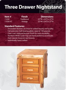 Three Drawer Nightstand- Traditional