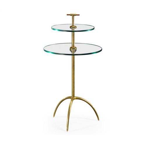 Brass & Glass Round Drinks Table