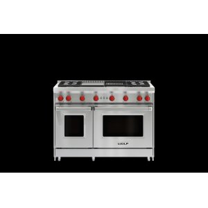 """Wolf48"""" Gas Range - 4 Burners, Infrared Charbroiler and Infrared Griddle"""