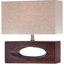 Table Lamp, Dark Walnut Finished/linen Fabric, E27 Cfl 13w