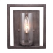 Marco 1 Light Wall Sconce in Gunmetal Bronze with Clear Glass